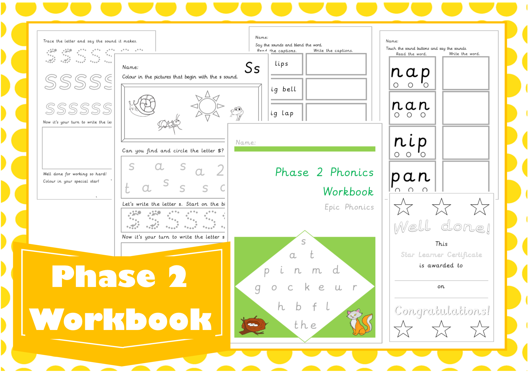 Worksheets Phoneme Worksheets teaching resources games epicphonics com phase 2 letters and sounds workbook